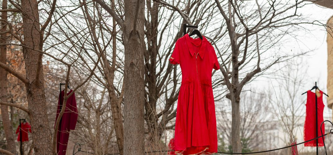Caption: Red Dresses for the Murdered and Missing