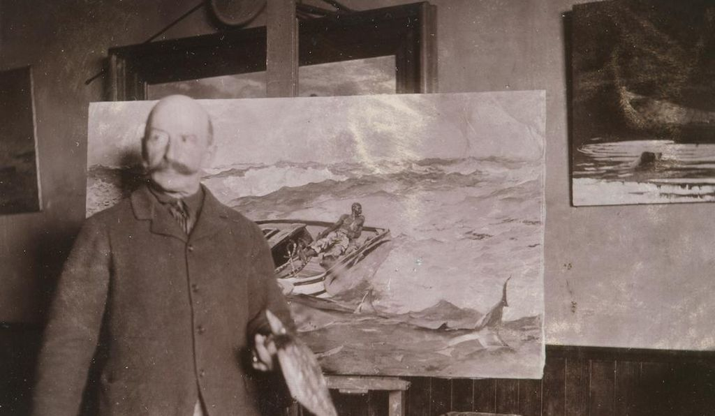 "Winslow Homer with ""The Gulf Stream"" in his studio, ca. 1900, gelatin silver print, by an unidentified photographer."