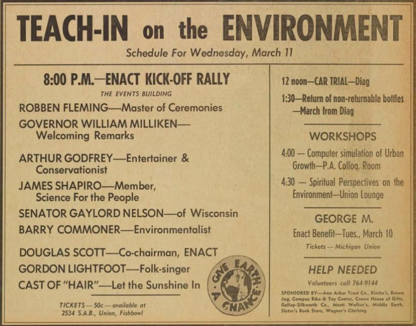Teach In on the environment schedule