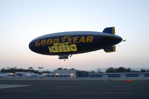 The Goodyear Blimp drops in (briefly) on Santa Monica airport.