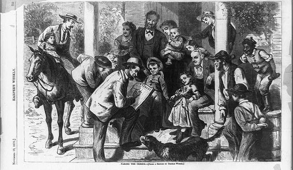 This sketch depicting census taking by Thomas Worth ran in <em>Harper's Weekly</em> in November 1870.