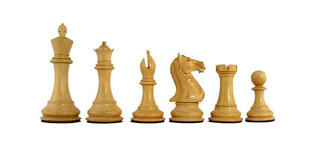Traditional chess pieces in the Staunton design