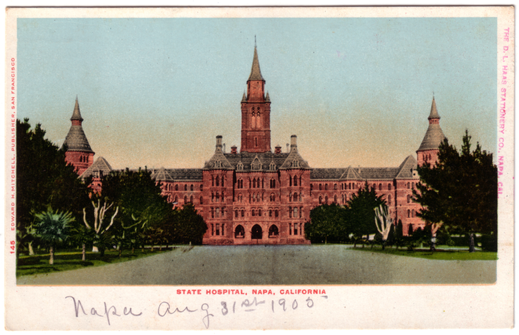 Postcard of the Napa State Hospital in Napa, Calif