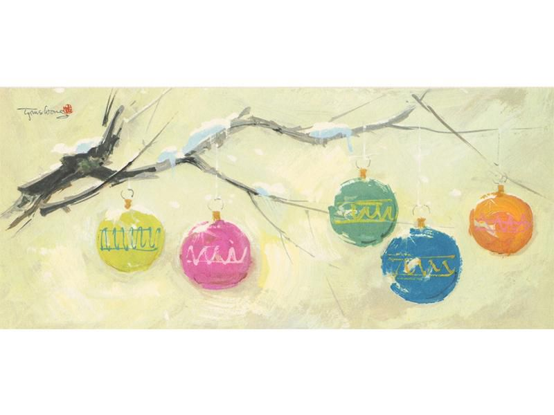 A painting of Christmas bulbs on a branch