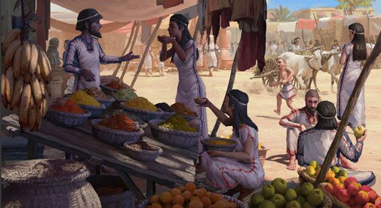 Bronze Age market scene at the Levant. Illustration: Nikola Nevenov