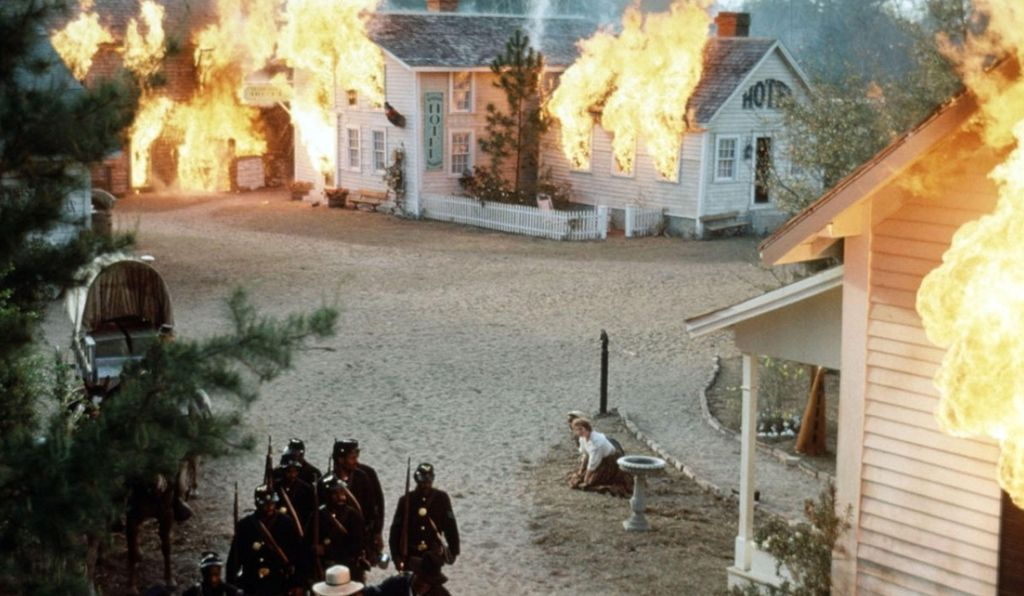 A scene from the movie of the real-life burning of Darien, Georgia.