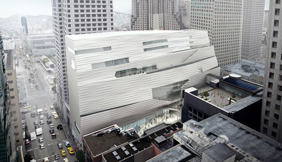 A rear-view of Snøhetta's addition to the San Francisco Museum of Modern Art