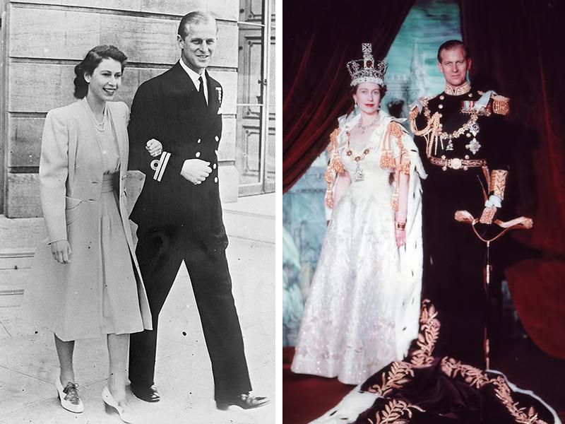 Elizabeth and Philip in 1947 (left) and after the queen's coronation in 1953 (right)