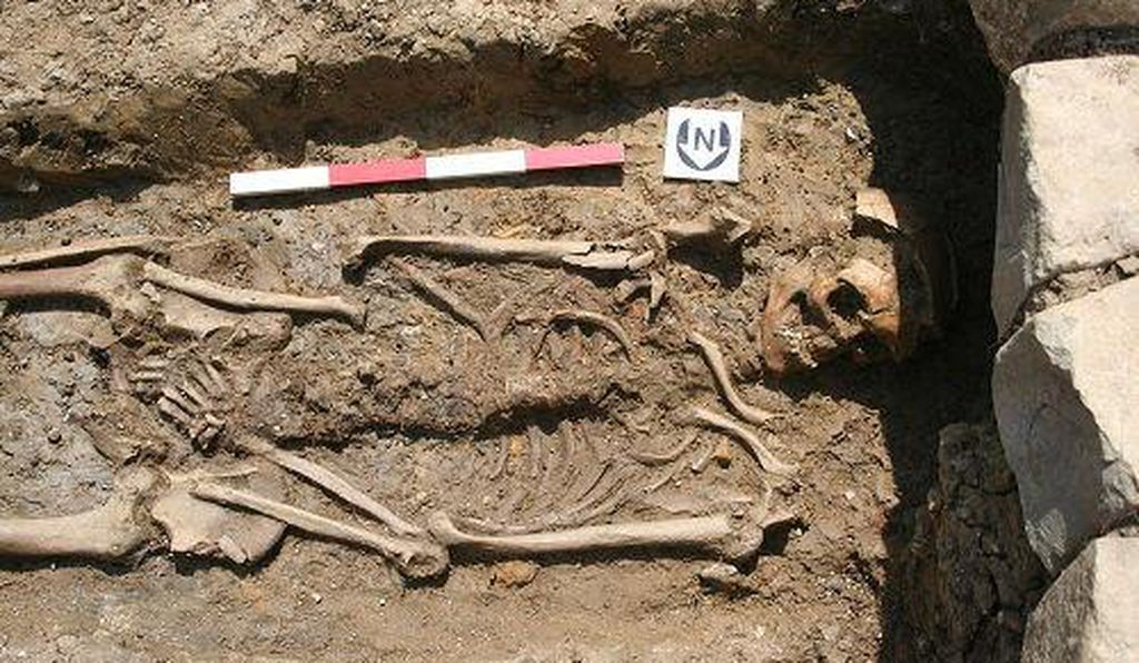 One of the skeletons uncovered at Beckery