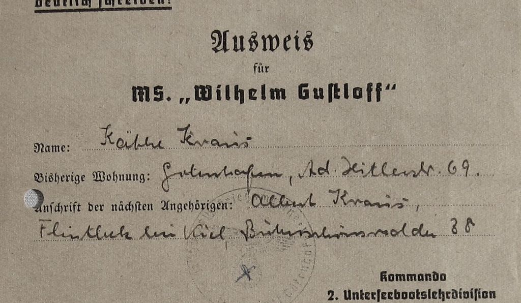 A ticket for the <em>Gustloff</em> from someone who didn't board the ship at the last minute.