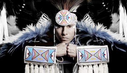 Lyricist, musician, and dancer Christian Parrish Takes The Gun, aka Supaman. (Matika WIlbur)