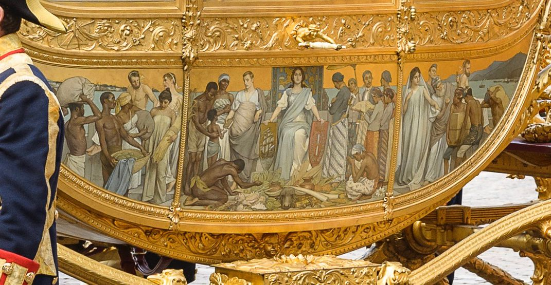 A close-up view of the 1898 triptych