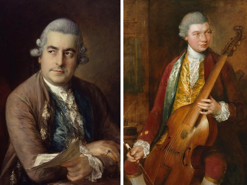Gainsborough's portraits of Johann Christian Bach (left) and Carl Friedrich Abel (right)