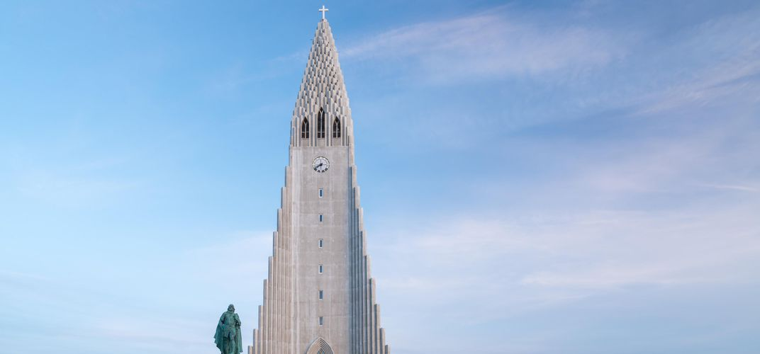 The Statue of Leif Eiriksson and Hallgrímskirkja Church