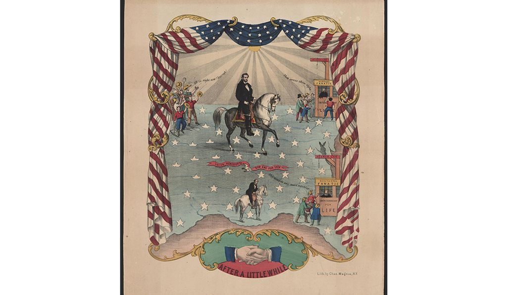 Undated lithograph of Abraham Lincoln on horseback within a border of furled U. S. flag and symbolic illustrations.
