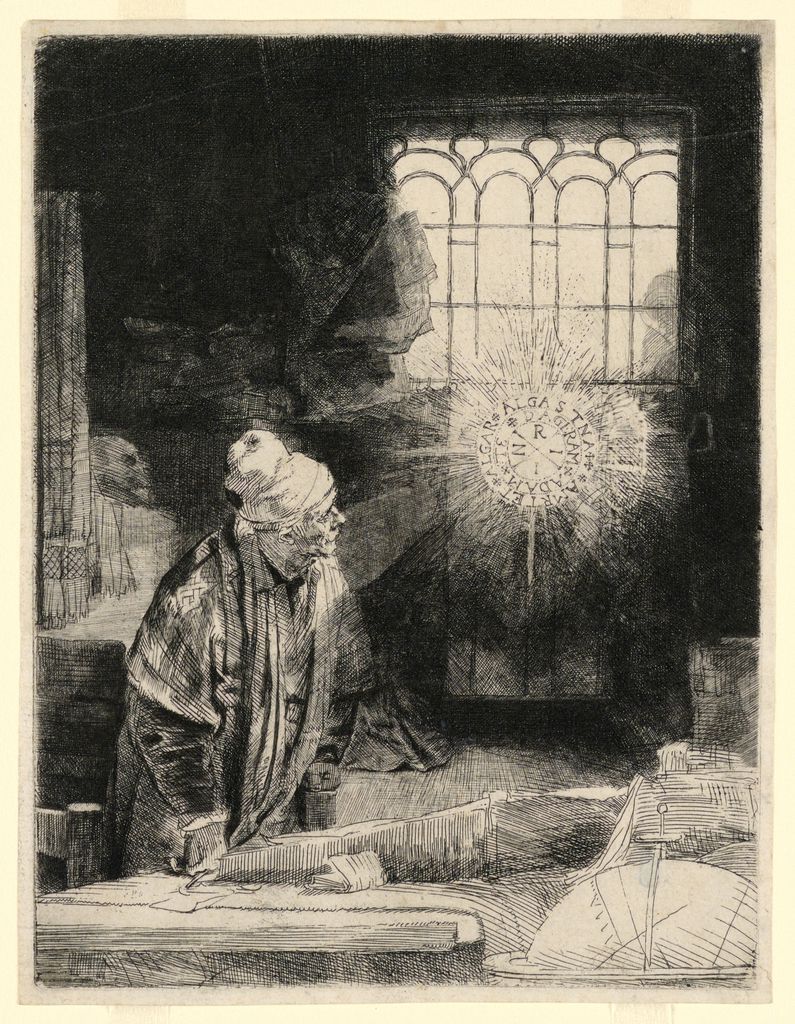 A print etched on off-white laid paper of a turban and robed Faust, watching a shining and hovering magic disc