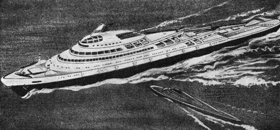 Ocean liner of the future, designed by industrial designers Martial and Scull (1944)