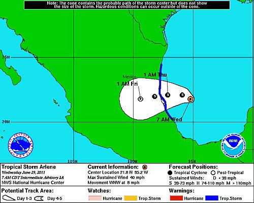 Tropical Storm Arlene is predicted to make landfall in Mexico early Thursday morning