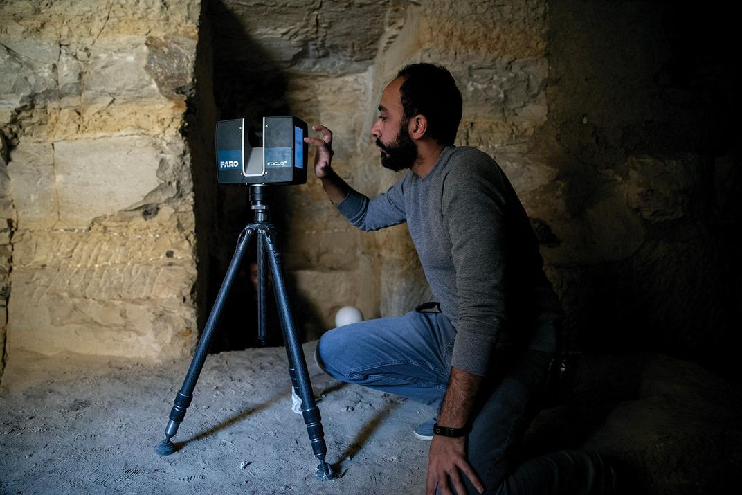 An engineer          from Cairo's Ain Shams University uses a Lidar scanner