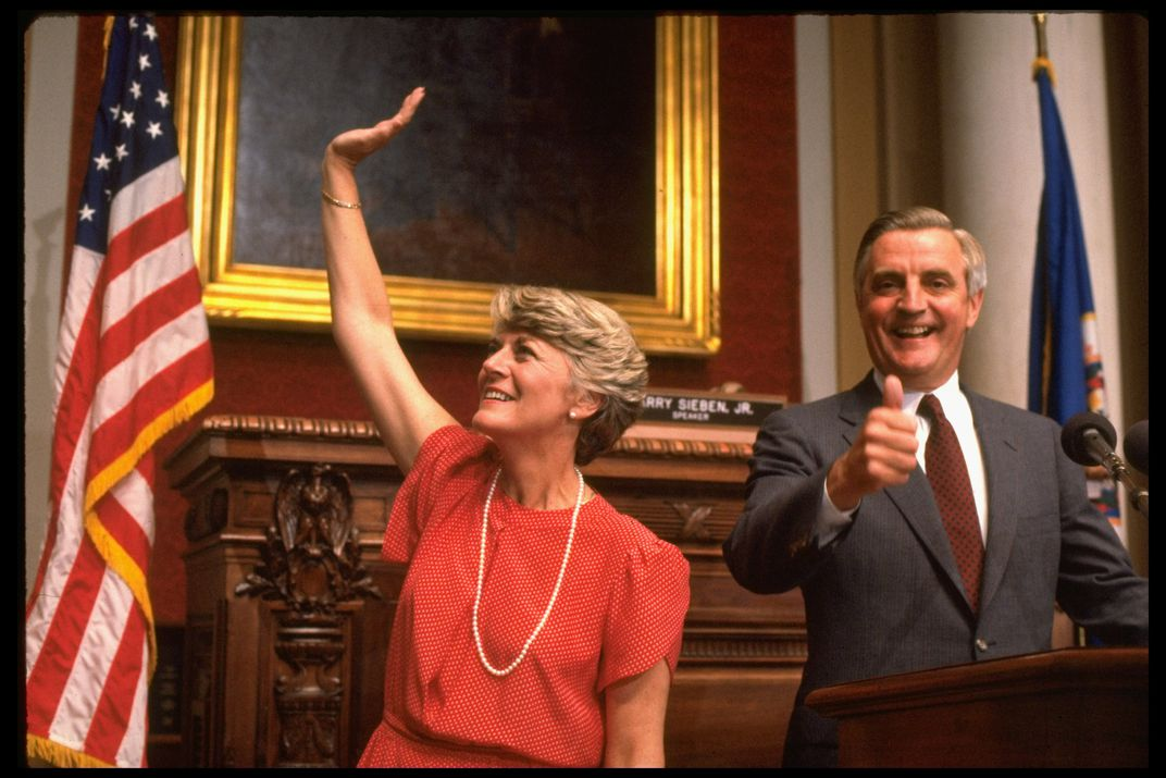 Ferraro and Mondale at announcement of her vice presidential selection
