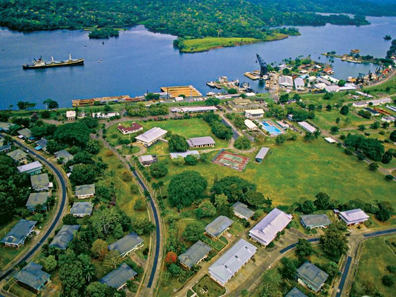 An aerial view of Smithsonian's Tropical Research Institute