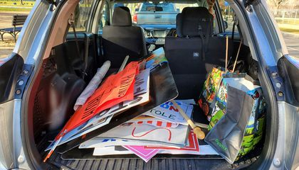 The trunk of Frank's car after three hours of collecting.