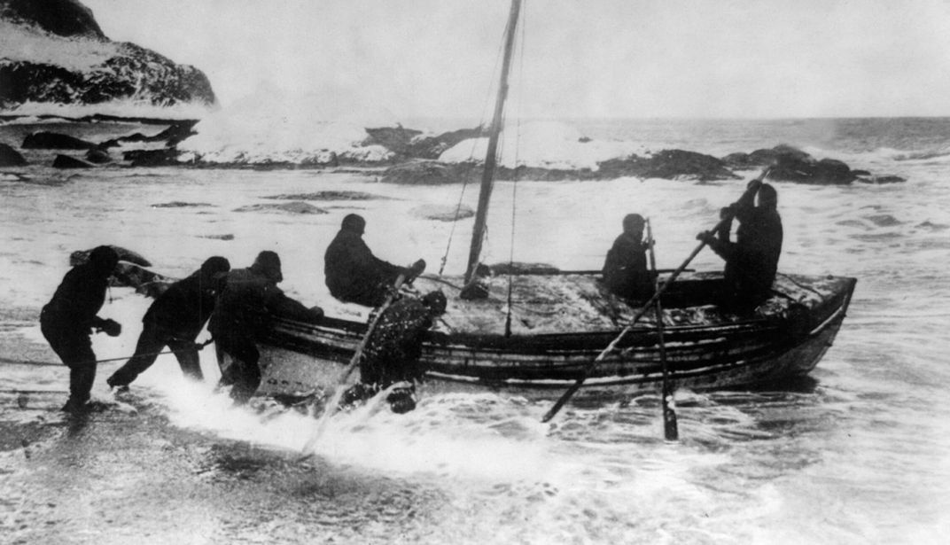 Ernest Shackleton and his crew launch the 23-foot-long lifeboat off Elephant Island