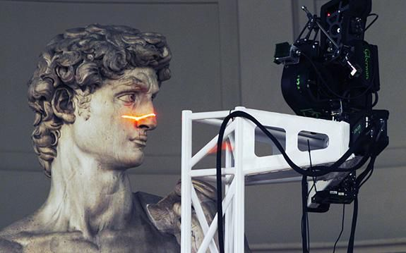 Michelangelo's David being scanned by The Digital Michelangelo Project
