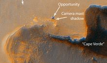 A Mars orbiter spies on a Mars rover.