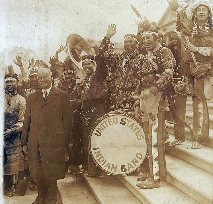 Charles Curtis next to United States Indian Band