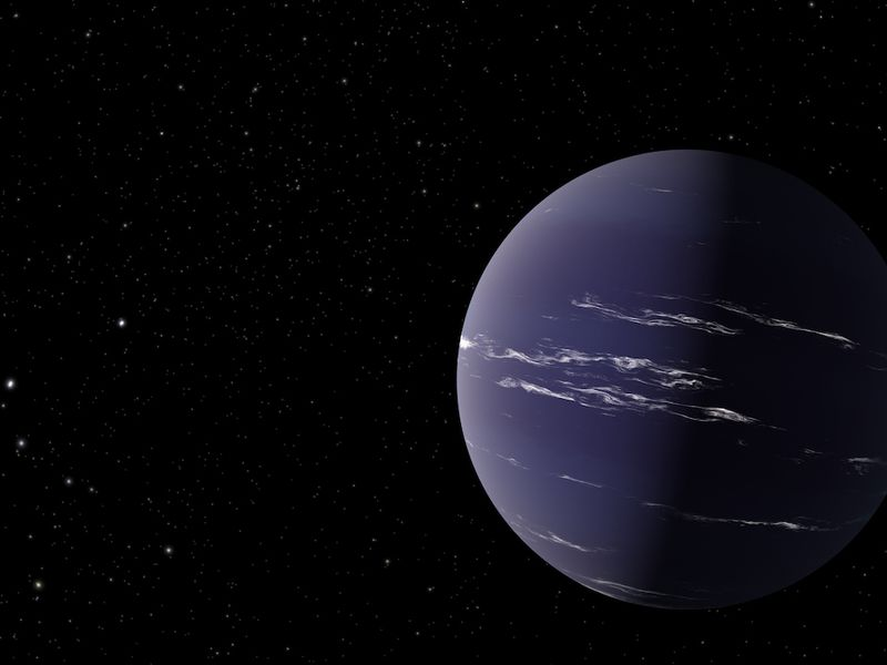 Artist's rendering of TOI-1231 b, a Neptune-like planet about 90 light-years away from Earth. The planet is colored a purple-blue hue with thin, wispy clouds in its atmosphere.