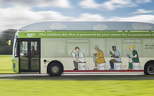 Commuter bus runs on human waste