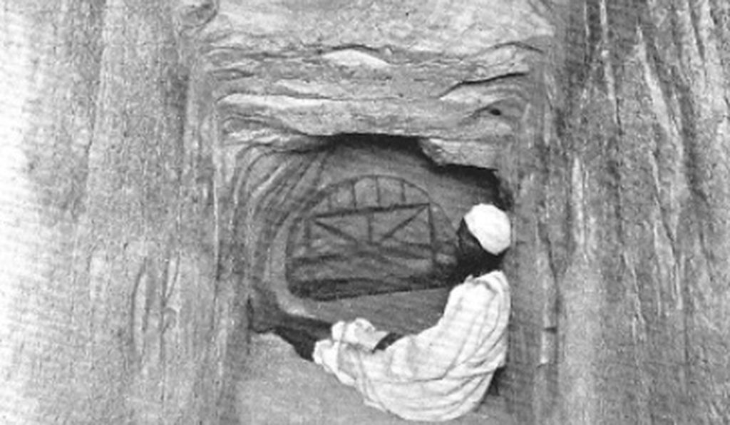 The granite plug blocking access to the upper portion of the Great Pyramid. It was the fall of the large limestone cap concealing this entrance that supposedly alerted Arab tunnelers to the location of Khufu's passages.