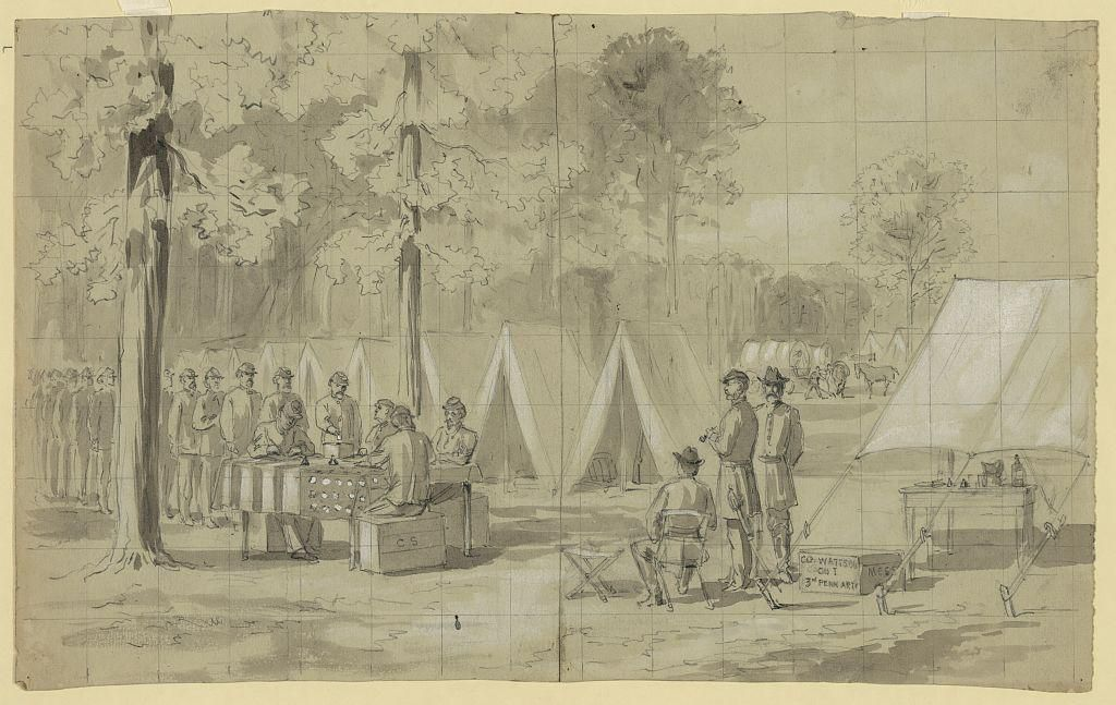 Illustration of soldiers voting in 1864
