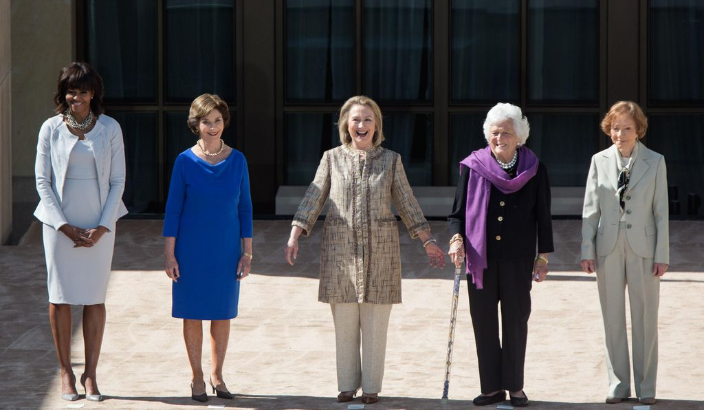 United States First Lady Michelle Obama with former First Ladies Laura Bush, Hillary Clinton, Barbara Bush, and Rosalynn Carter.