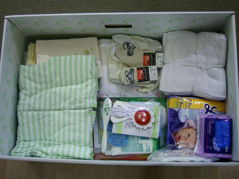A maternity care package provided by Finland.