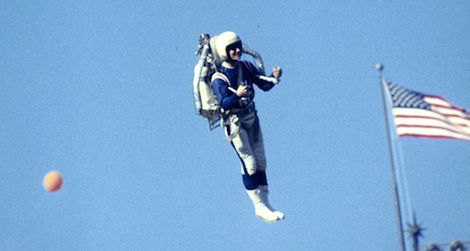 Jetpack pilot at Super Bowl I in 1967