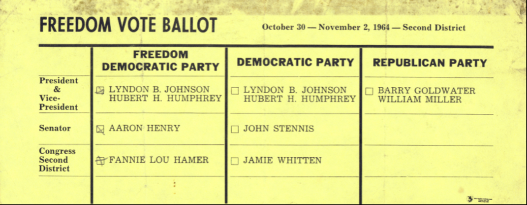 Freedom Vote Ballot printed on yellow paper