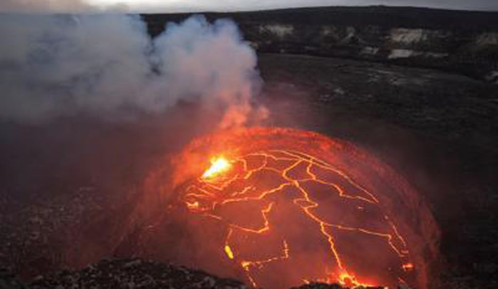 Lava lake fills the