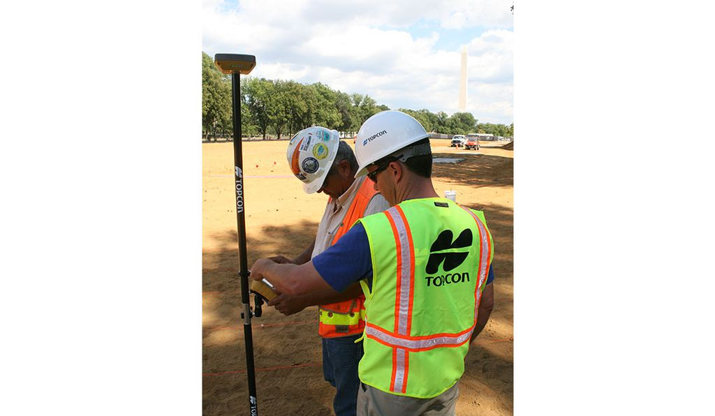 Topcon uses advanced GPS tools like the HiPer SR to map out the artwork on the National Mall.
