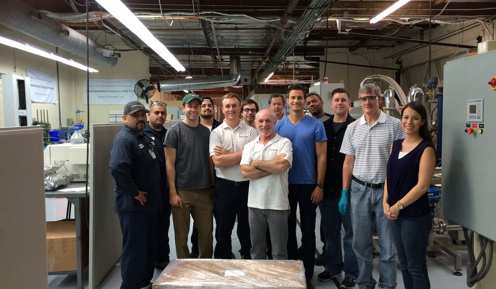 Members of the Newlight team at one of their manufacturing plants in California.