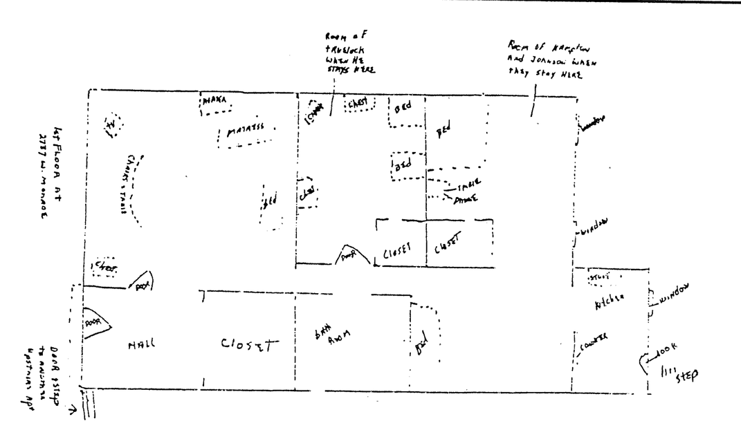 Floor plan of Fred Hampton's apartment
