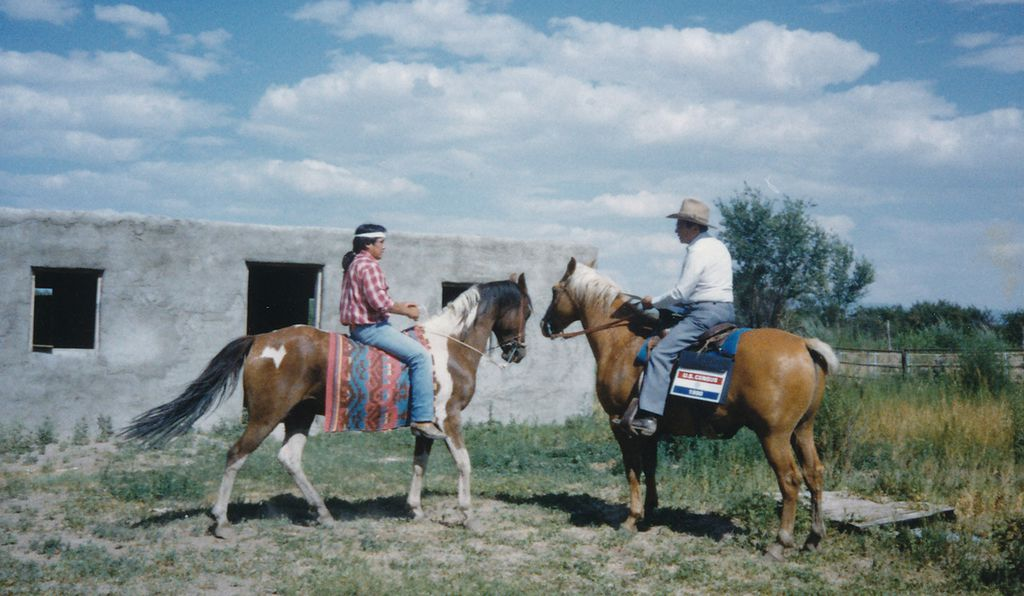 A U.S. enumerator arrived on horseback in New Mexico in 1990.