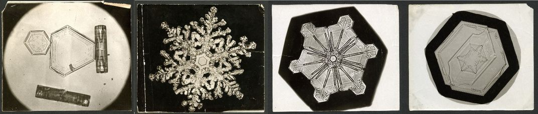Composite of historical photos comparing four ice crystal shapes under a microscope