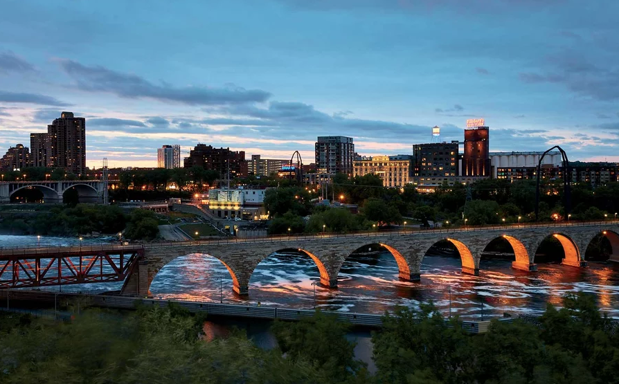The Stone Arch Bridge over St. Anthony Falls, in Minneapolis.