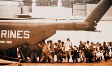 During the United States' final 24 hours in Vietnam, American nationals and Vietnamese refugees were crowded onto Marine and Air Force helicopters that landed within the U.S. embassy compound.