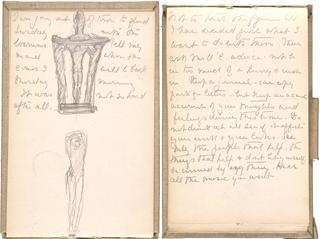 Sketches and writings from one of Gertrude Vanderbilt Whitney's sketchbooks