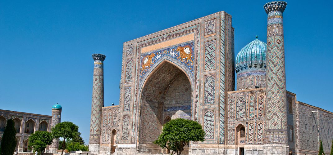 The Sher Dor Madrassah, Registan Square Ensemble, Samarkand, Uzbekistan