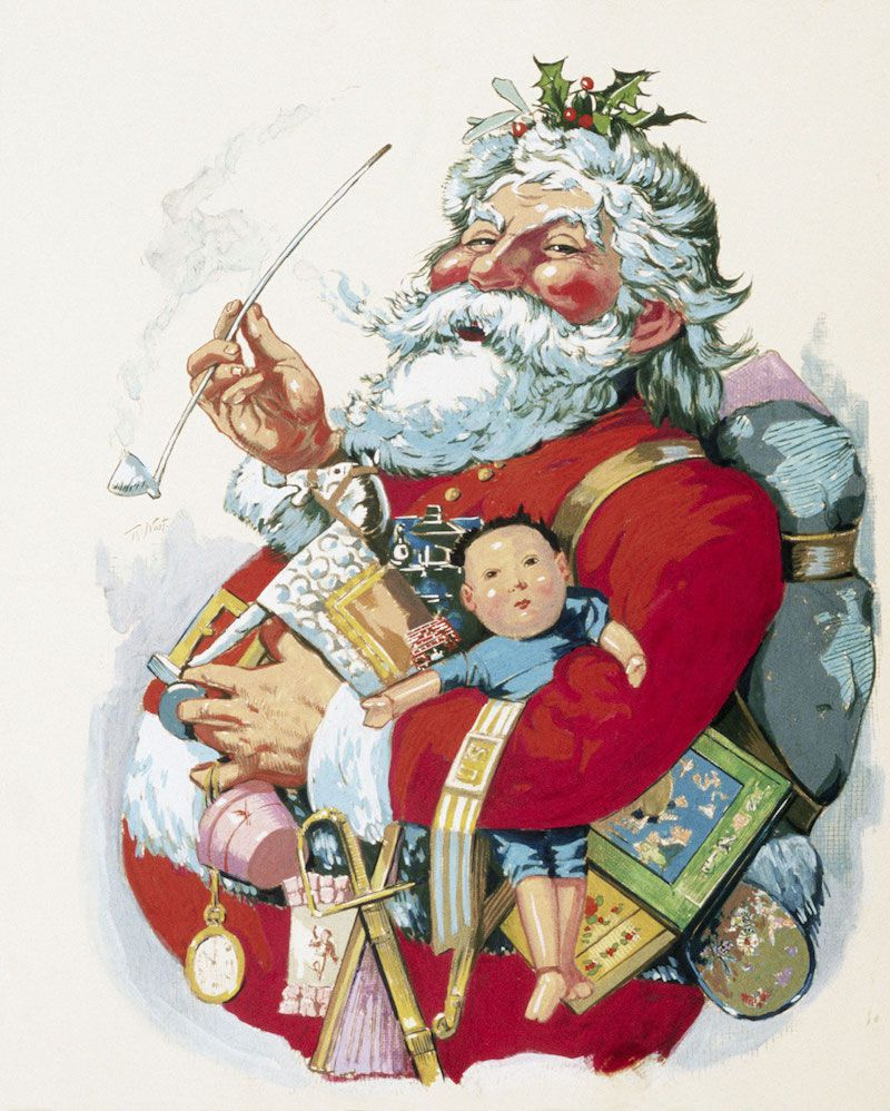 "Thomas Nast's full realization of Santa Claus, ""Merry Old Santa Claus,"" January 1, 1881. Harper's Weekly, from the Ohio State University Billy Ireland Cartoon Library and Museum, via Bill Cassellman's site"