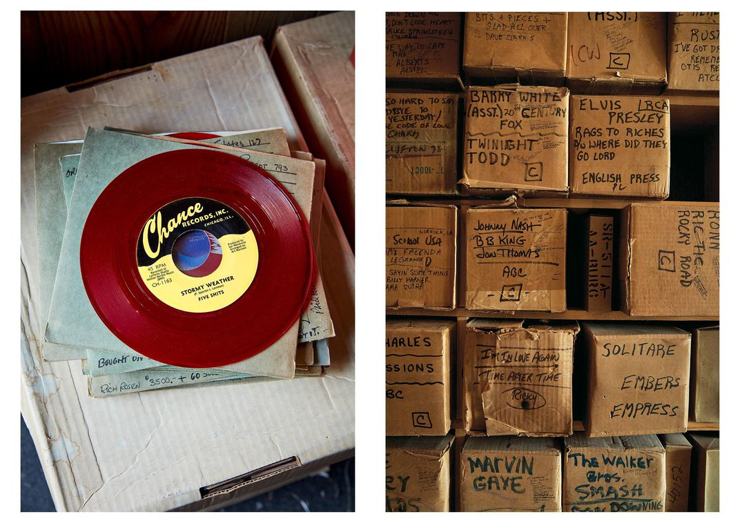 Record and boxes